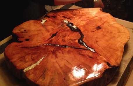 We are finishing up the legs on this brand new end table with Mother Of Pearl inlay. The wood is from a willow tree.