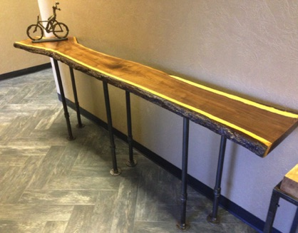 8.5 ft Black Walnut Couch Table or Wall Table with Tung Oil finish